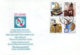 """(FC-12) DDR  Mi 3332/35 """"Int. Fernmeldeunion (ITU)"""" Auf Unterlage Sauber Gestempelt - [6] República Democrática"""