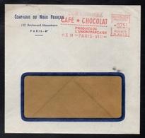 CHOCOLAT - CACAO - COCOA - CHOCOLATE / 1959 PARIS EMA SUR ENVELOPPE A ENTETE (ref 1529) - Levensmiddelen