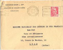 CHALON-SUR-SAONE SAONE-ET-LOIRE OMec FRANKERS-SECAP 25-5-1948 CHALON-SUR-SAONE / FOIRE-EXPOSITION / 19 AU 27 JUIN 1948 - Marcofilia (sobres)