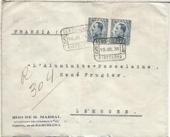 BARCELONA SEGUNDA REPUBLICA CC CERTIFICADA 1931 A LIMOGES FRANCIA SELLOS VAQUER - 1931-Hoy: 2ª República - ... Juan Carlos I