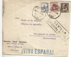 SEVILLA GUERRA CIVIL CC A VILLANUEVA DE AROSA CON CENSURA BENEFICO LOCAL Y SOBRECARGA PATRIOTICA - 1931-Hoy: 2ª República - ... Juan Carlos I