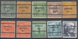 USA Precancel Vorausentwertung Preo, Bureau Kentucky, Louisville 10 Diff. Bureaus - Vereinigte Staaten
