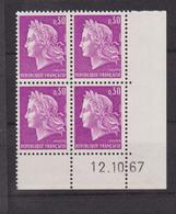 COINS DATES 1967 NEUF MARIANNE DE CHEFFER 30 C LILAS - Esquina Con Fecha