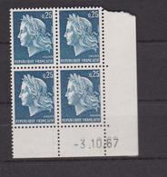 COINS DATES 1967 NEUF MARIANNE DE CHEFFER 25C BLEU - Esquina Con Fecha
