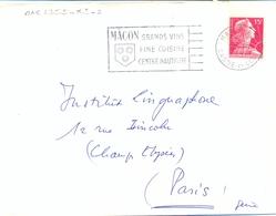 MACON R.P. SAONE-ET-LOIRE OMec FRANKERS-SECAP 24-10-1956 / MÂCON GRANDS VINS / FINE CUISINE / CENTRE NAUTIQUE - Marcofilia (sobres)