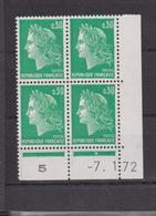 COINS DATES 1972 NEUF MARIANNE DE CHEFFER 30 C VERT - Esquina Con Fecha