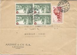 LETTRE 1948 POUR LA FRANCE AVEC 5 TIMBRES - Suiza