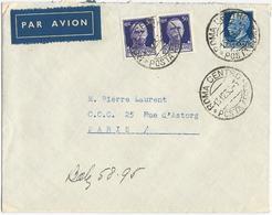 LETTRE PAR AVION 1930 POUR LA FRANCE AVEC 3 TIMBRES - Marcofilie