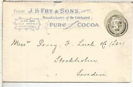 REINO UNIDO BRISTOL ENTERO POSTAL FRY CACAO COCOA CHOCOLATE 1902 - Levensmiddelen