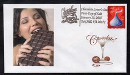 CHOCOLAT - CACAO - COCOA - CHOCOLATE / 2007 USA - OBLITERATION SUR ENVELOPPE ILLUSTREE (ref 1035) - Levensmiddelen
