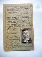 CARTE Identite CHEMINS DE FER FRANCAIS 1942 REDUCTION DE 30 POUR CENT - Cartes