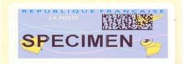 VIGNETTE LISA TYPE « AVIONS EN PAPIER PLIÉ » SPECIMEN Avec QR Codes Barres  FRAA - Postdokumente