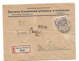 TSC044 / Wenzel I Auf Firmenkuvert Aus Cervený Kostelec Per Einschreiben, Einzelfrankatur - Tschechoslowakei/CSSR