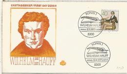ALEMANIA FDC 1977 WILHELM HAUFF POESIA LITERATURA POETRY - Escritores