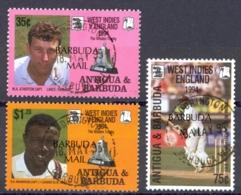 Barbuda Sc# 1533-1535 Used 1995 Antigua Cricket Stamps Overprinted - Antigua And Barbuda (1981-...)