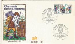 ALEMANIA FDC 1980 PRENSA DE VINO WINE ENOLOGIA UVA - Vinos Y Alcoholes