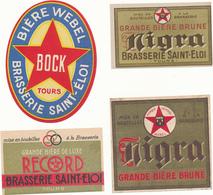 TOURS, Brasserie Saint Eloi - 4 Etiquettes, Bière Webel, Nigra, Record - Bière