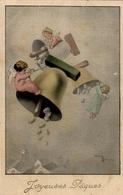 CPSM Joyeuses Pâques : Anges Secouant Des Cloches Pour Faire Tomber Des Oeufs - Engel