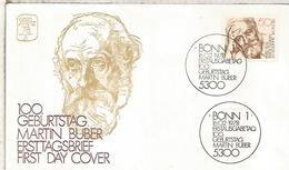ALEMANIA FDC 1978 MARTIN BUBER FILOSOFIA LITERATURA ESCRITOR - Escritores