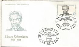 ALEMANIA FDC 1975 ALBERT SCHWEITZER PREMIO NOBEL PAZ - Premio Nobel