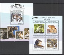 QQ610 2014 GUINEE GUINEA FAUNA WILD ANIMALS WILD CATS SNOW LEOPARDS 1KB+1BL MNH - Raubkatzen