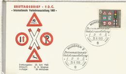 ALEMANIA FDC 1965 TRANSPORTE SEGURIDAD VIAL ROAD SAFETY - Accidentes Y Seguridad Vial