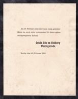 BERLIN 1910 Gräfin Udo Zu STOLBERG WERNIGERODE Faire-part Décès A4 - Todesanzeige