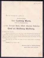 WESTHEIM DUSSELDORF Pater Ludwig Joseph Graf Zu STOLBERG-STOLBERG 1859-1888 Prêtre Dominicain - Todesanzeige