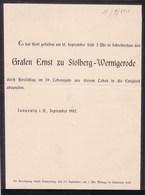 JANNOWIK Grafen Ernst Zu STOLBERG-WERNIGERODE 1907 - Todesanzeige