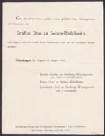 ALTENHAGEN Graffen Otto Zu SOLMS-RODELHEIM 1904 Faire-part A4 Famille Zu STOLBERG - Todesanzeige