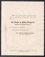 WERNIGERODE Graf Theodor Zu STOLBERG-WERNIGERODE 75 Ans 1902 Famille Von Der SCHULENBURG Format A4 - Todesanzeige