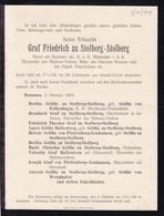 BRUSTAWE Graf Friedrich Zu STOLBERG-STOLBERG 1904 Faire-part A4 - Décès