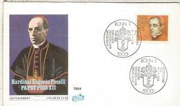 ALEMANIA FDC 1984 RELIGION PAPA PIO XII POPE - Papas