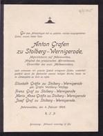 BRUSTAWE Anton Grafen Zu STOLBERG-WERNIGERODE Militaire 1905 Faire-part A4 - Décès