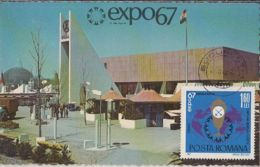 81563- MONTREAT'67 UNIVERSAL EXHIBITION, MAXIMUM CARD, 1967, ROMANIA - 1967 – Montreal (Kanada)