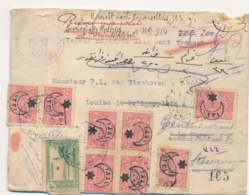 Turkey - 1917 - 9 Stamps On Valeur Declaré Cover From Beyrouth To Den Haag / Nederland - Storia Postale
