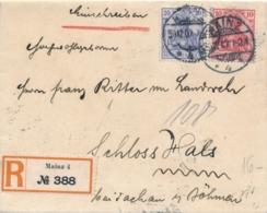 Deutschland - 1907 - 10 & 20Pf Germania On R-cover From Mainz To Böhmen - Brieven En Documenten