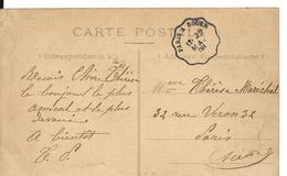 PARIS / ROUEN Convoyeur PARIS à ROUEN Sur Semeuse 1908 Cpa POISSY Vue Prise Du Port Des Yachts Colorisé - Marcophilie (Lettres)