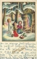 """Cartolina """"Buon Natale"""", Bambini E Angelo In Preghiera Davanti A Gesù Bambino (S21) - Altri"""