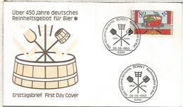 ALEMANIA FDC 1983 CERVEZA BEER BIER - Cervezas