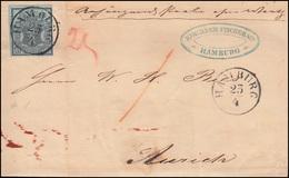 Hannover Nr. 1 Freimarke Als EF Auf Brief HAMBURG 23.4.1857 Nach AURICH 25.4.57 - Hannover
