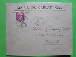 Lettre En Tête MAIRIE De CARLAT Cantal , Cachet Tirete Sur Marianne De Muller  No 1011, 1955 ,TB - 1921-1960: Periodo Moderno
