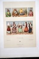 "LITHOGRAPHIE URRABIETTA, Imp. FIRMIN DIDOT & Cie - Coiffes, Costumes, De Femmes ""PERSE"" - Lithographies"