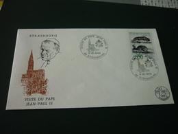 Timbre France Histoire Naturelle Sur Enveloppe Visite Du Pape Jean Paul II Strasbourg Alsace - France