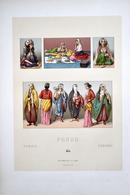 """LITHOGRAPHIE URRABIETTA, Imp. FIRMIN DIDOT & Cie - Coiffes, Costumes, De Femmes """"PERSE"""" - Lithographien"""