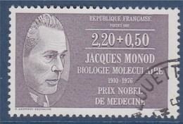 = Jacques Monod, Biologiste Prix Nobel 1965, Série Personnages Célèbres Médecins Et Biologistes 2f20+50c N°2459 Oblitéré - France