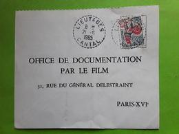 Lettre Papillon Cachet Tirete LIEUTADES ,Cantal Coq Decaris 1331 A,Documentation Ecole Film Protection Nature - 1961-....