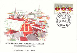 Latvia FDC 3-5-1994 ATM Label With Very Nice Cachet - ATM - Frama (labels)