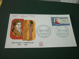 Timbre France  Champollion Enveloppe Premier Jour First Day Cover J-F. Champollion 1790/1832 N°816A - France