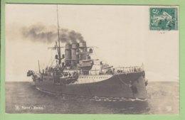 Carte Photo : Le R. NAVE ROMA , 1916 ( Cuisrassé, Croiseur ?). 2 Scans. - Krieg